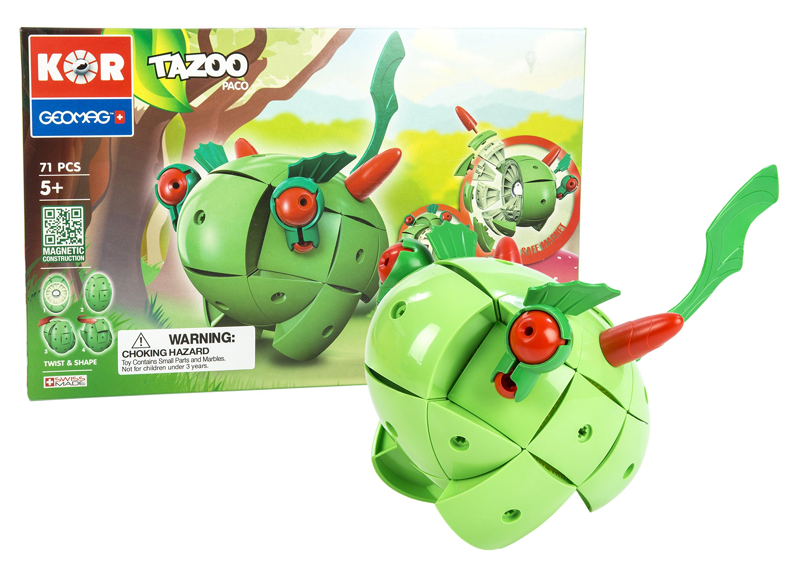 Geomag Kor TAZOO Paco - 71 Piece Creative Magnet Transformative Playset Toy for Both Boys and Girls - Swiss Made - Part of Geomag's World Famous Award Winning Product Line - Ages 5 and Up