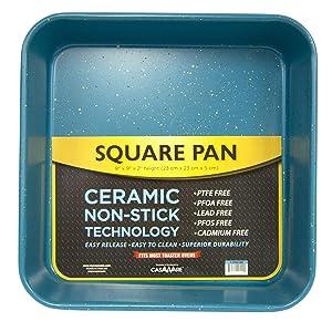 casaWare Ceramic Coated NonStick Heavy Weight 9-inch Square Cake Pan (Blue Granite)
