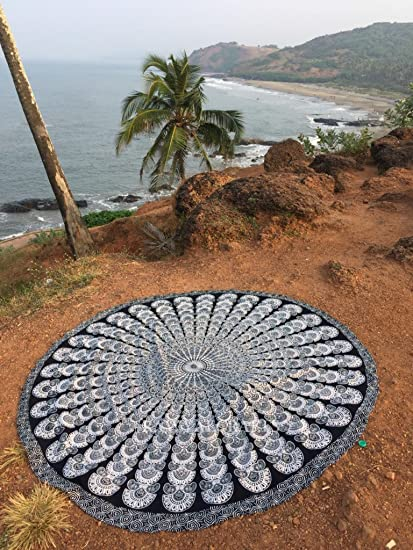 rawyalcrafts- blanco y negro plumas de pavo real indio Mandala redondo Roundie Beach manta tapiz