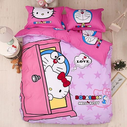 Ami0707 Juego de Cama 100% algodón Hello Kitty Doraemon ...