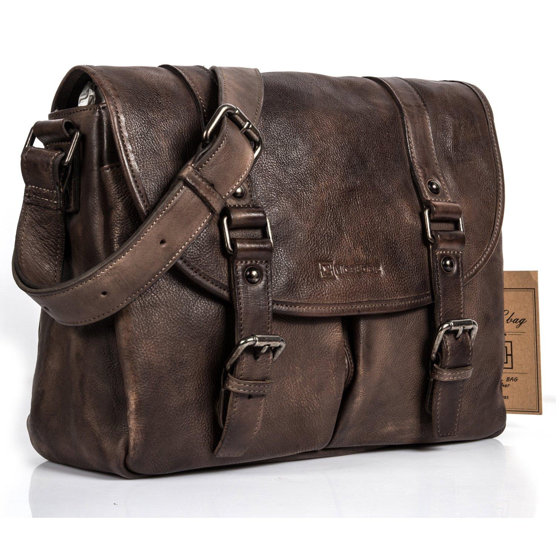 NiceEbag Briefcase Men Messenger Bag Retro Style Genuine Leather Bag Shoulder Bag Fits Up 15.6 Inch Laptop (Bronze)