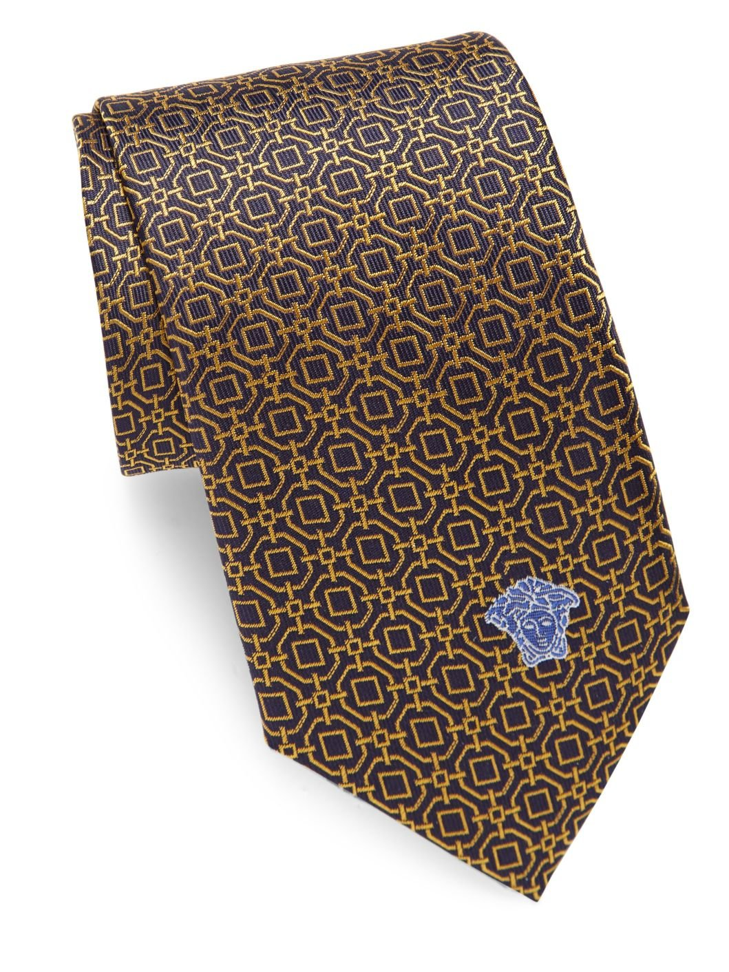 Versace Men's Medallion Print Italian Silk Tie, OS, Yellow