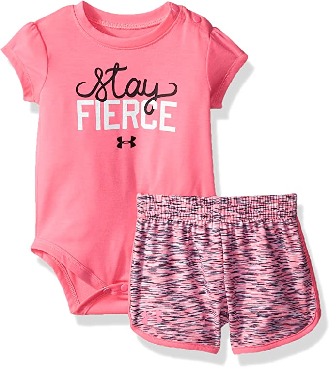 Under Armour 12 Or 18 Months Girls Pink Punk Stay Fierce Outfit Set NEW