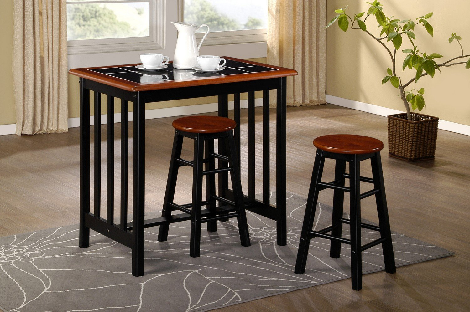 Kitchen bar table sets - Breakfast Bar Dining Set Kitchen Table And 2 Stools Black Tile Top And Wood Stylish Compact Dining Set W89 X D60 X H86cm Amazon Co Uk Kitchen Home