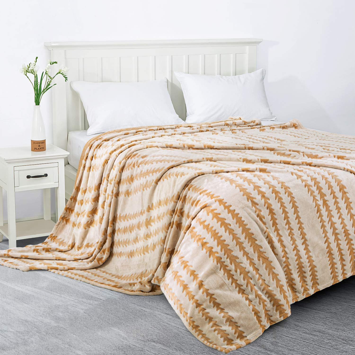 "Queen Size 80/""x90/"" Sedona House Covered Flannel Blanket Ombre Pattern"