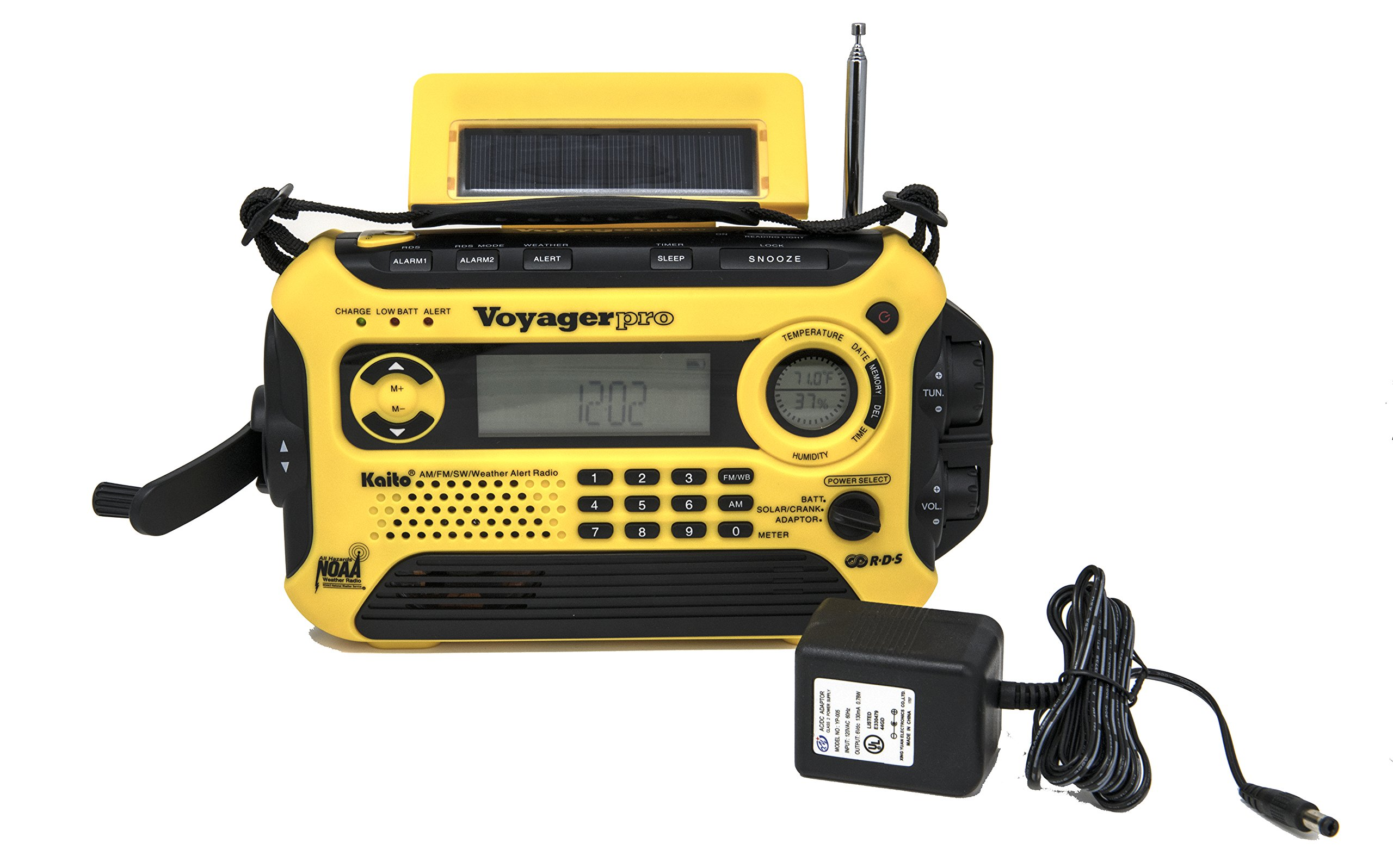 Kaito Voyager Pro KA600 Digital Solar Dynamo Crank Wind Up AM/FM/LW/SW & NOAA Weather Emergency Radio with Alert, RDS & Smart Phone Charger, Yellow (AC Wall Adapter Included) by Kaito (Image #1)