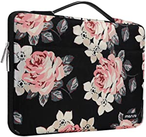 MOSISO Laptop Sleeve 360 Protective Case Bag Compatible with 2019 MacBook Pro 16 inch A2141,15 15.4 15.6 inch Dell Lenovo HP Asus Acer, Polyester Rose Shockproof Handbag with Trolley Belt, Black