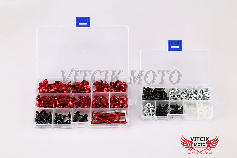 Blau /& Silber VITCIK Verkleidung Kompletter Schraubensatz f/ür YZF1000 R1 2004 2005 2006 YZF 1000 R1 04 05 06 Motorrad Befestigungsmittel CNC-Aluminiumklammern