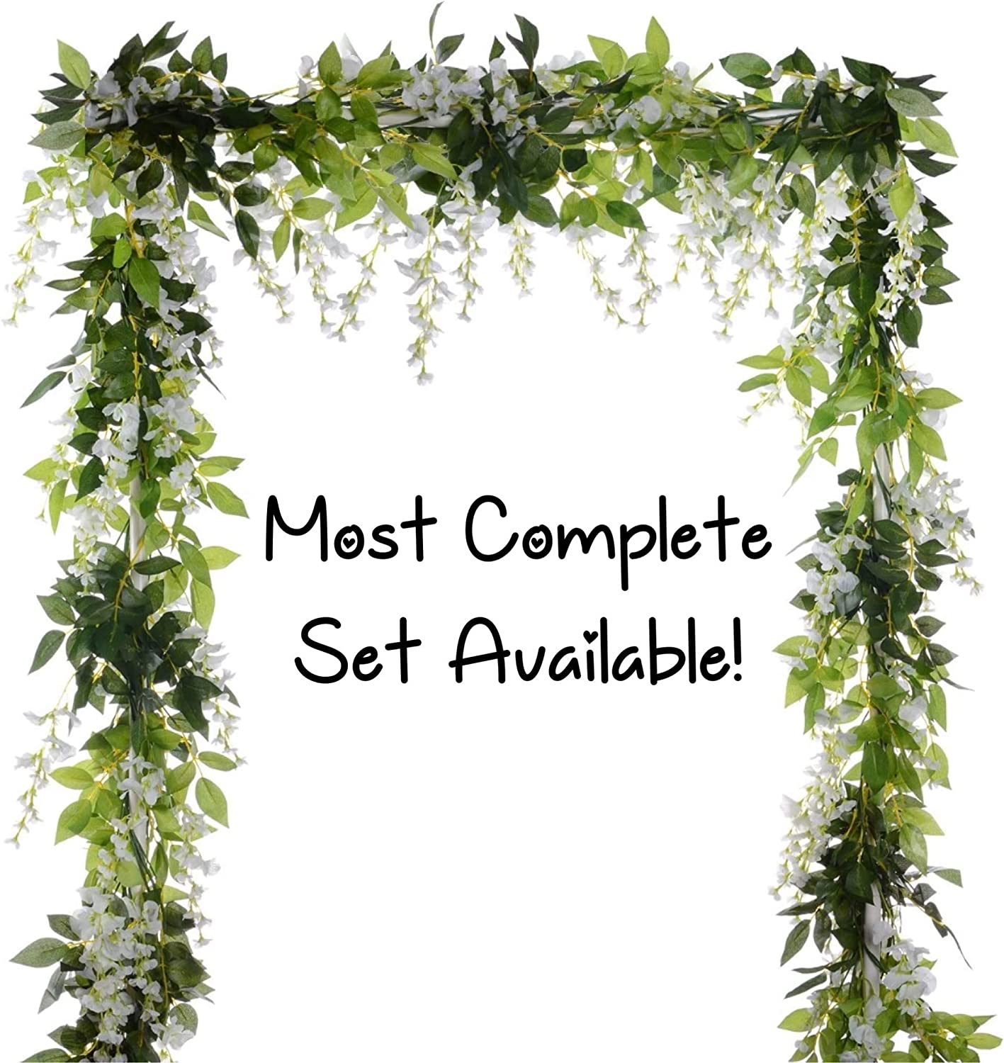 CB Gypsy 10 Pcs (60ft Total) Wisteria Artificial Flower Garland, Fake Wisteria Vine Leaves Silk Hanging Flowers for Home Garden Outdoor Ceremony Wedding Arch Floral Party Decor (White)