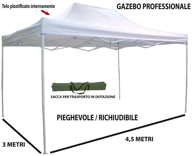 Gazebo pieghevole richiudibile telescopico 3x4, 5 m. telo bianco per mercato fiera manifestazioni sagra campeggio giardino Savino Fiorenzo