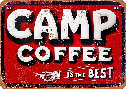HiSign Camp Coffee Retro Cartel de Chapa Coffee Póster Bar ...