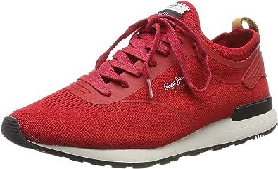 Pepe Jeans Boston Knit, Zapatillas para Hombre, Rojo Red 255, 41 EU: Amazon.es: Zapatos y complementos