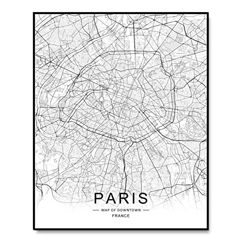 Amazon Com Paris City Downtown Map Wall Art Paris Street Map Print Paris Map Decor City Road Art Black And White City Map Office Wall Hanging 8x10 Inch No Frame Handmade