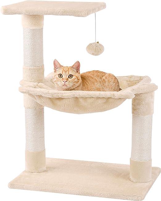 Mcdear Árboles para Gatos Rascador para Gatos Sisal Plush con Pelota Hamaca 70cm Beige: Amazon.es: Productos para mascotas