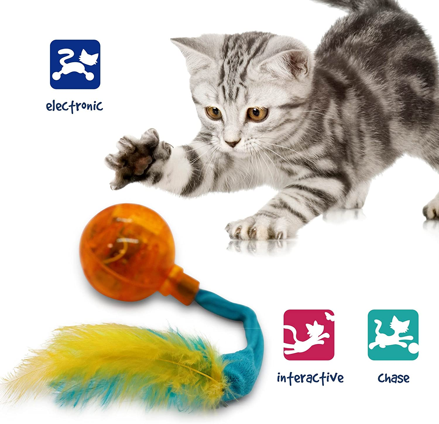 Enjoy One Another. DAHO Cat Toys.Spring Doll Cat Toys with Interactive Feather and Light Ball.Let Your Cat Baby Play Fun and Improve The Intelligence
