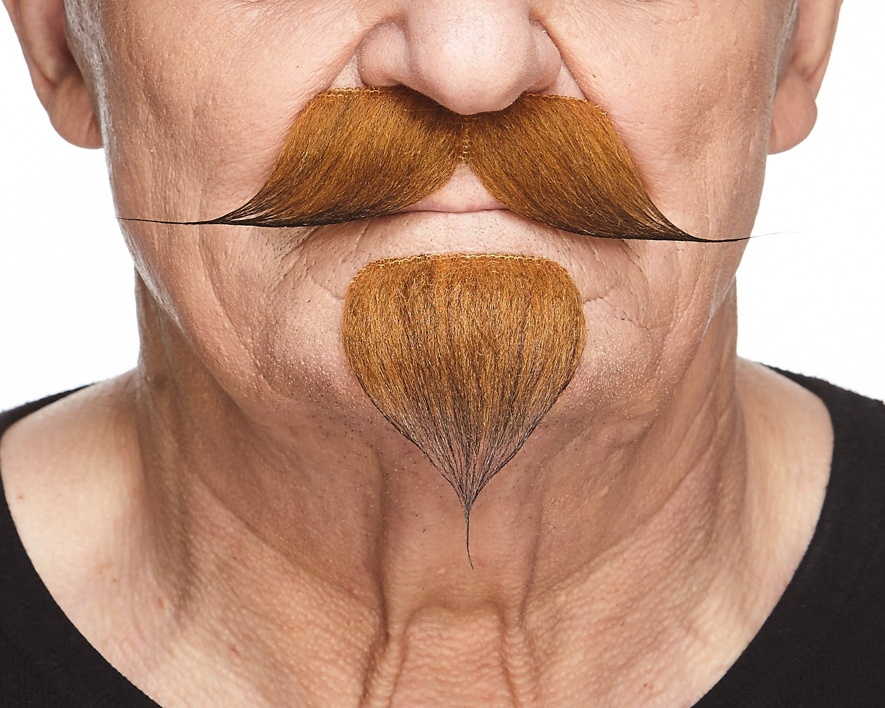 Mustaches Self Adhesive, Novelty, Fake Handlebar with a Goatee, Ginger Color