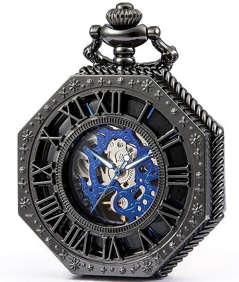 SEWOR Octagon Old School estilo Hollow números romanos mecánica mano viento reloj de bolsillo (negro): Amazon.es: Relojes