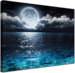 Blue Moon Wall Decor Painting - Modern Ocean Landscape Picture Canvas art decoration Print Poster Artwork for Living Room Bathroom Home Decorative Ready to Hang for Christmas Festival 12x16inch Framed