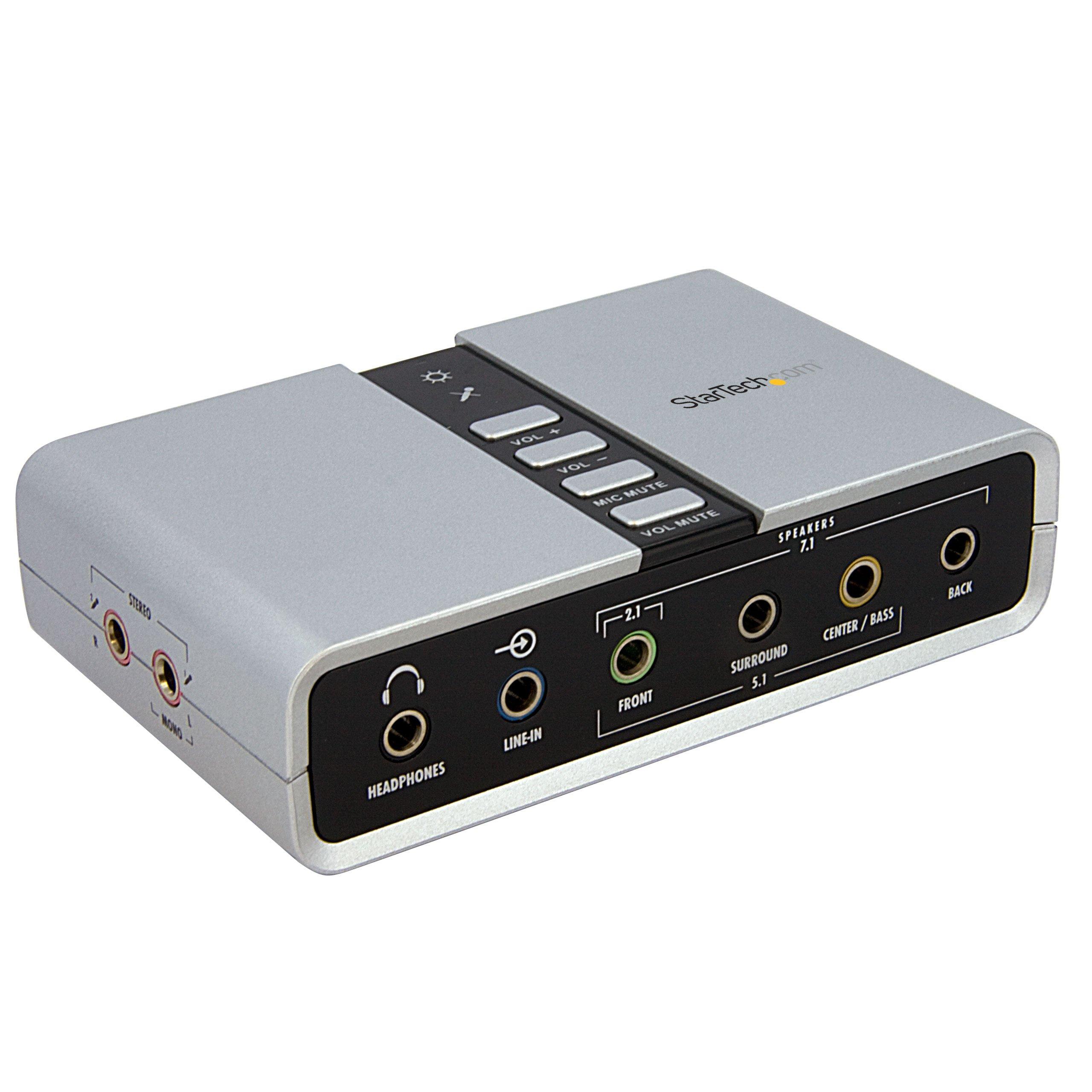 StarTech.com 7.1 USB Audio Adapter External Sound Card with SPDIF Digital Audio Sound Cards ICUSBAUDIO7D