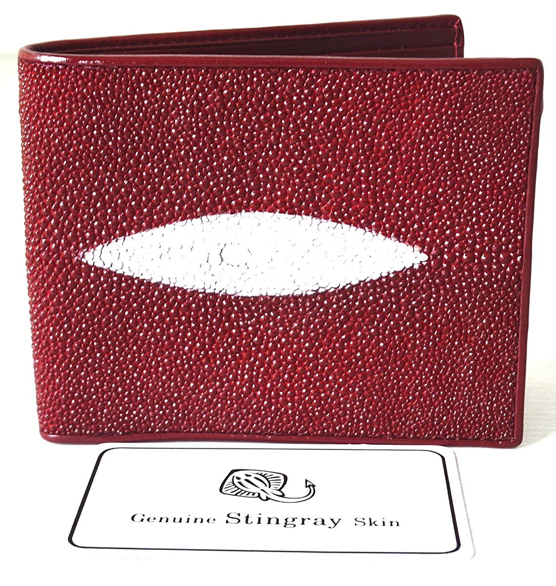 Genuine Real 1 Eye Stingray Skin Leather Man Bifold Shiny Black Bag Wallet New