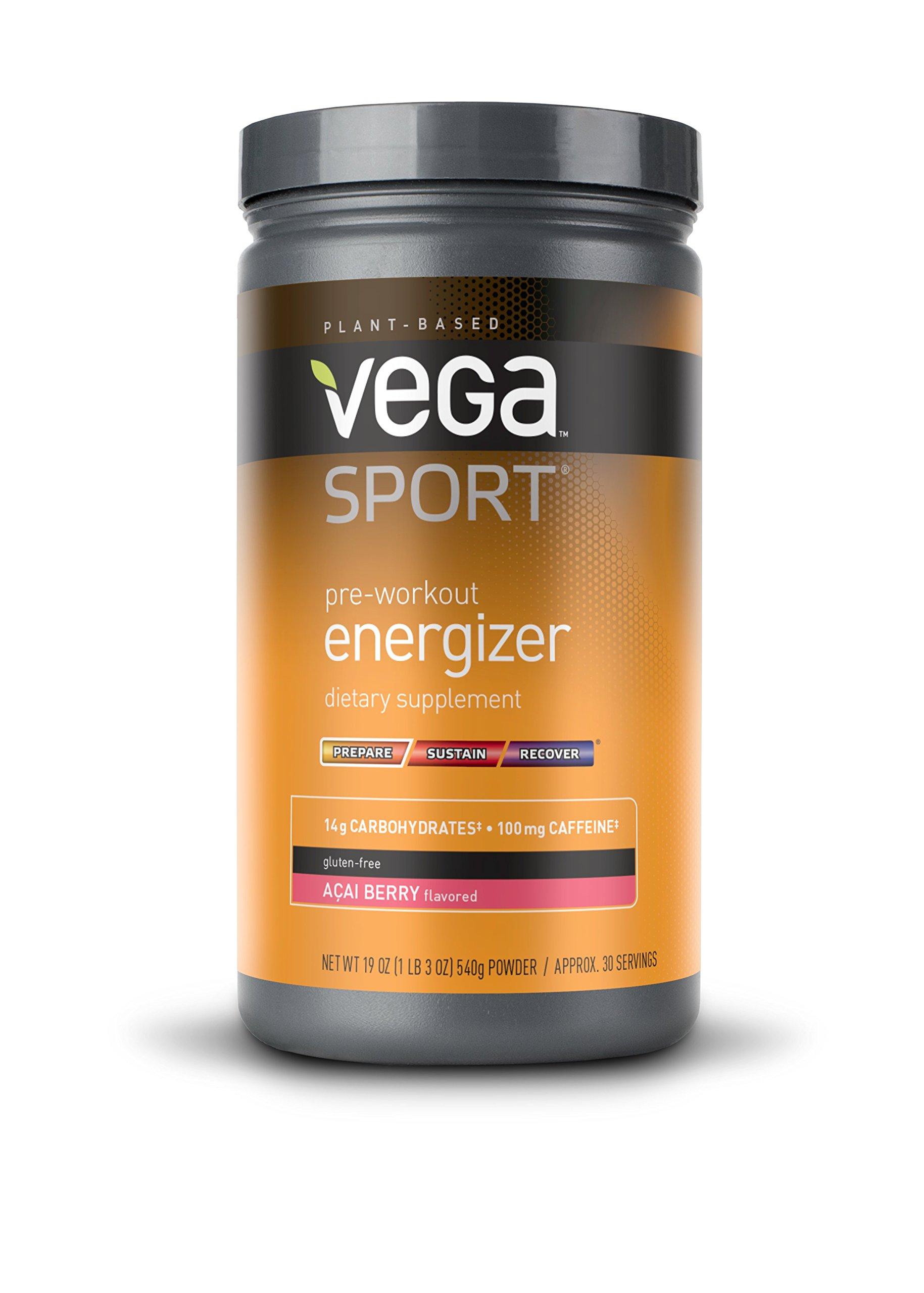 Vega Sport Pre-Workout Energizer Acai Berry (19oz, 30 Servings) - Vegan, Gluten Free, All Natural, Pre Workout Powder, Non GMO by VEGA