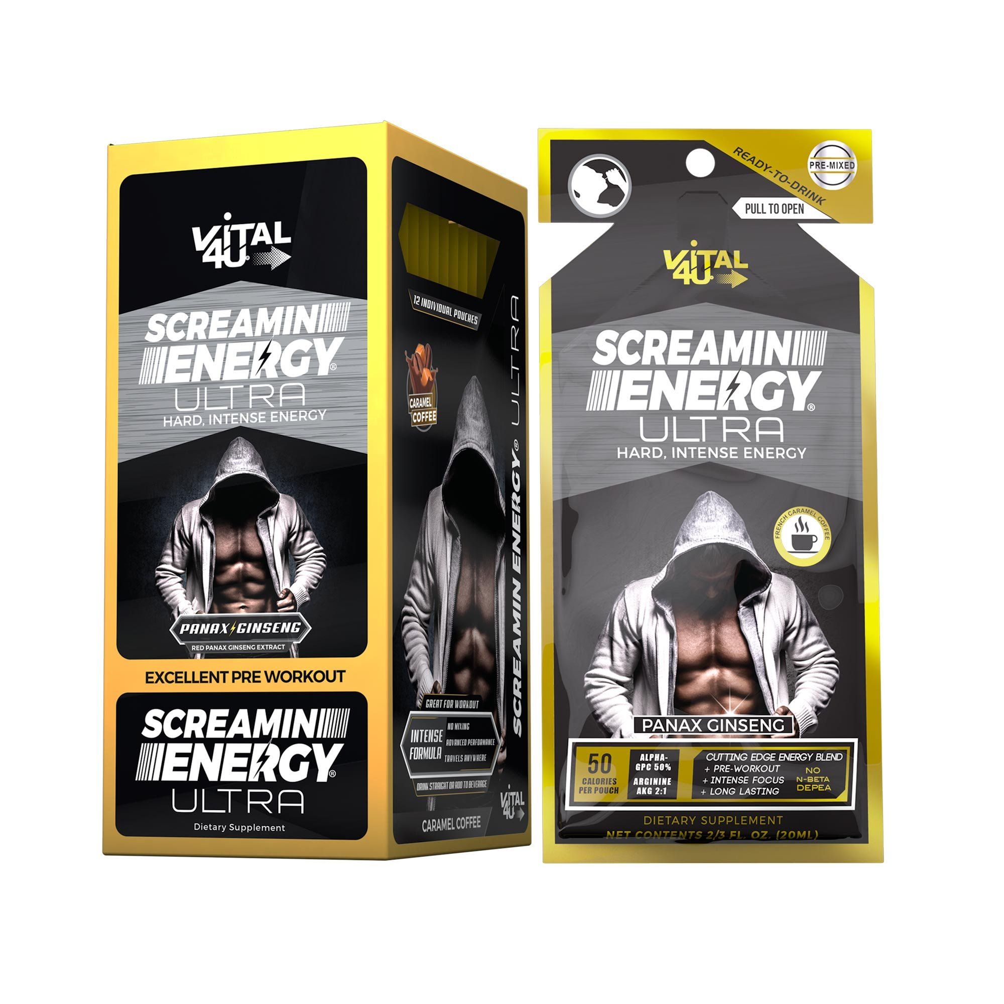 Screamin Energy Ultra, Pre-Workout Energy Shot with Caffeine, L-Arginine AKG, Alpha GPC, and Ginseng, French Roast Caramel Coffee Flavor, 24 Count by VITAL 4U