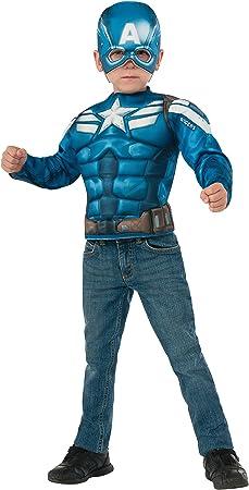 Kit disfraz Capitán América musculoso para niño: Amazon.es ...