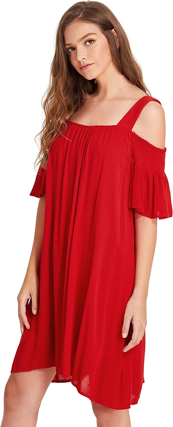 Milumia Womens Cold Shoulder Ruffle Sleeve Loose Shift Swing Tunic Dress