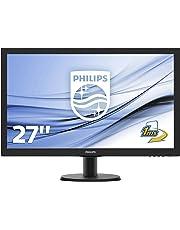 "Philips 273V5LHSB Gaming Monitor 27"" LED Full HD, 1 ms, HDMI, VGA, Attacco VESA, Nero"
