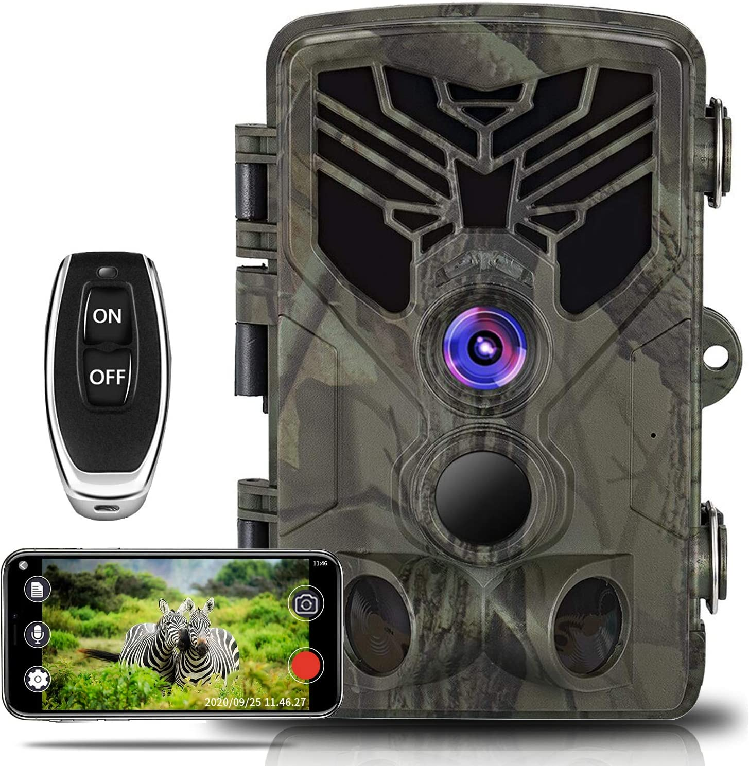 WiFi Trail Camera, Taotique 20MP 1080P WiFi Wildlife Camera Night Vision Motion Activated, 0.3s Trigger Speed Game Hunting Scouting Camera for Outdoor Wildlife, Garden and Home Security Surveillance