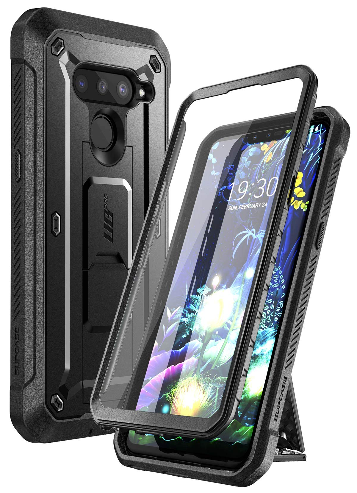 SUPCASE Unicorn Beetle PRO Series Case for LG V50 / LG V50 ThinQ 5G Case 2019, Full-Body Protective Case with Built-in Screen Protector Kickstand & Holster Clip (Black)