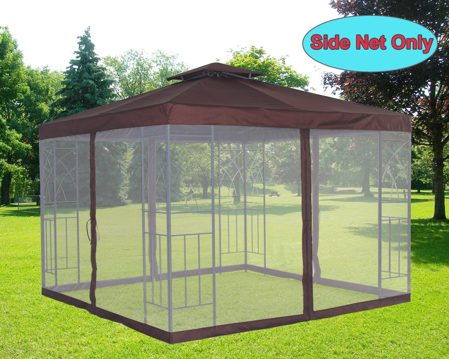 Greenbay Outdoor Garden Pavilion Tent Mosquito Side Net Curtains Cover Bug Netting Cover Replacement Metal Gazebo Spare Part Coffee (Side Net Only) Manufactured for Greenbay