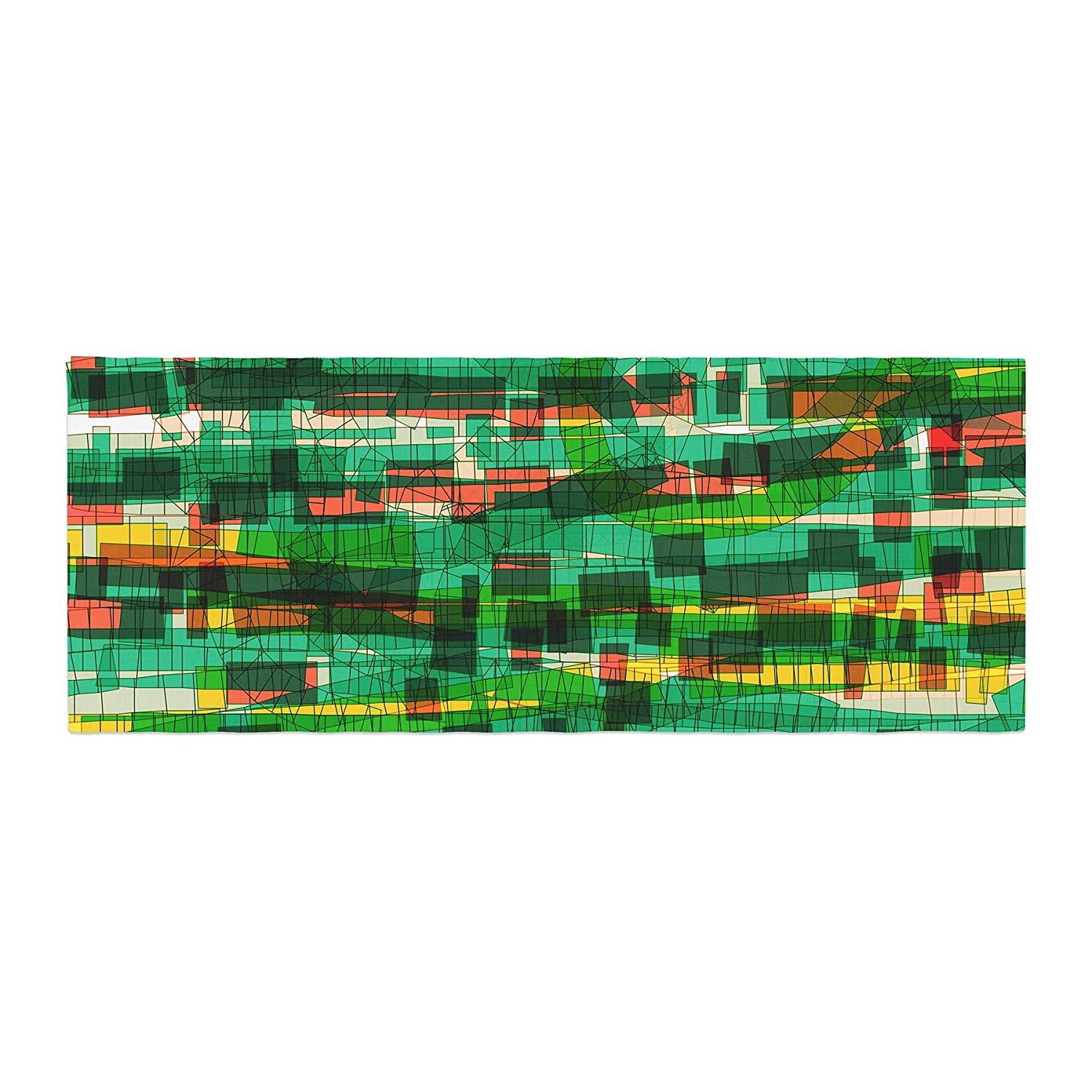 Kess InHouse Frederic Levy-Hadida Squares Traffic Green Bed Runner