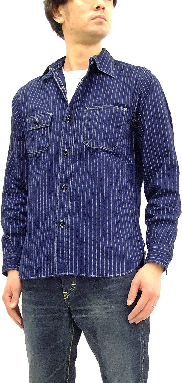 Sugar Cane Men's Indigo Wabash Stripe Work Shirt Long Sleeve Shirt SC25551A