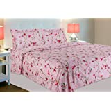 haus & kinder Summer Vintage Romance 144 TC, 100% Cotton Double Bedsheet with 2 Pillow Covers, (Baby Pink)
