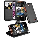 Cadorabo - Book Style Hülle für HTC DESIRE 310 - Case Cover Schutzhülle Etui Tasche mit Standfunktion und Kartenfach in PHANTOM-SCHWARZ
