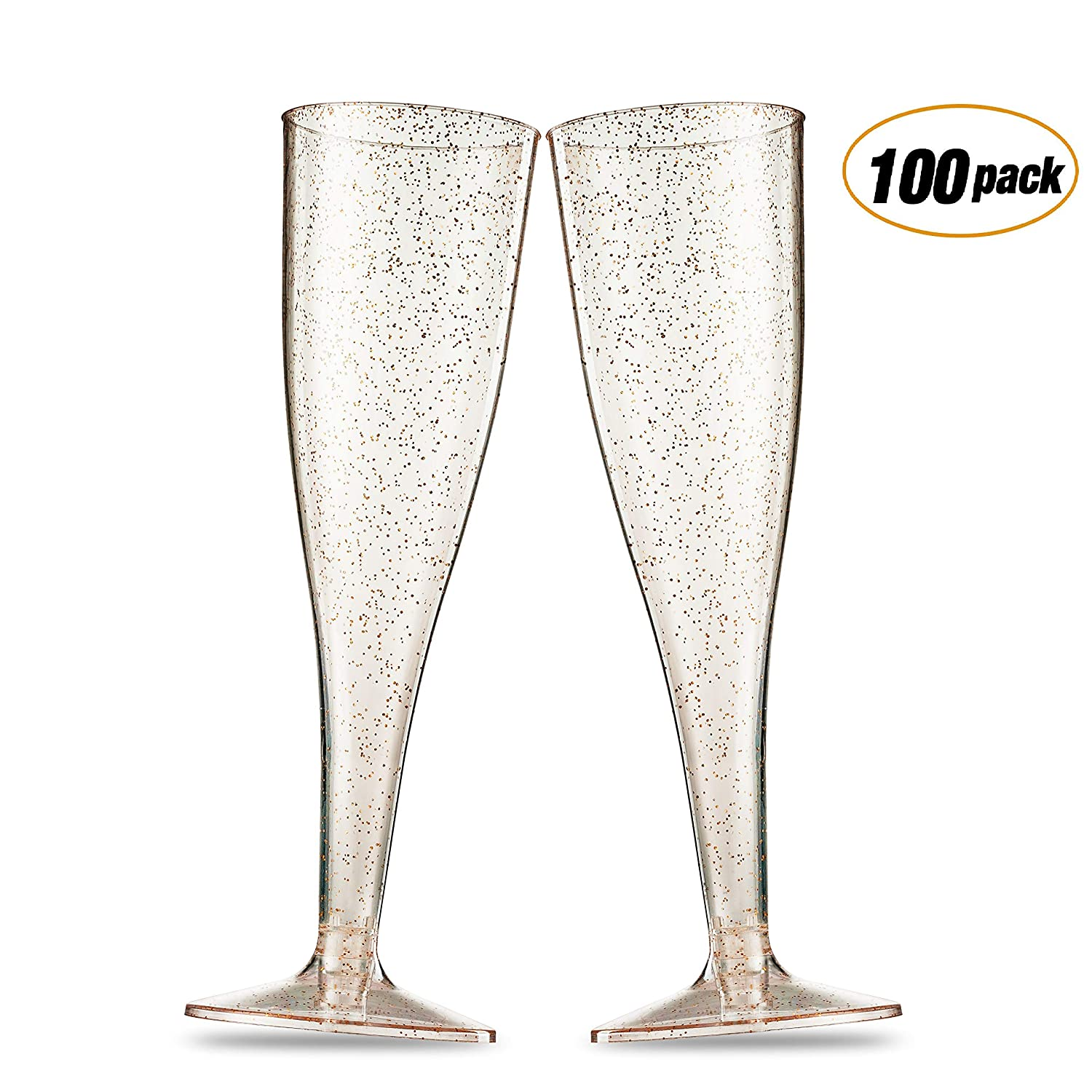 100 Gold Glitter Plastic Champagne Flutes ~ 5 Oz Clear Plastic Toasting Glasses ~ Disposable Wedding Party Cocktail Cups Munfix MF5100GG