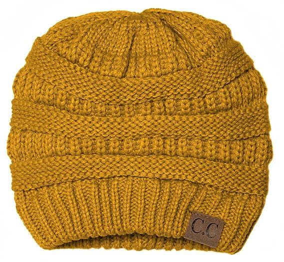 a0a8a9ad12f Gravity Threads Thick Knit Soft Stretch Beanie Cap - Mustard at ...