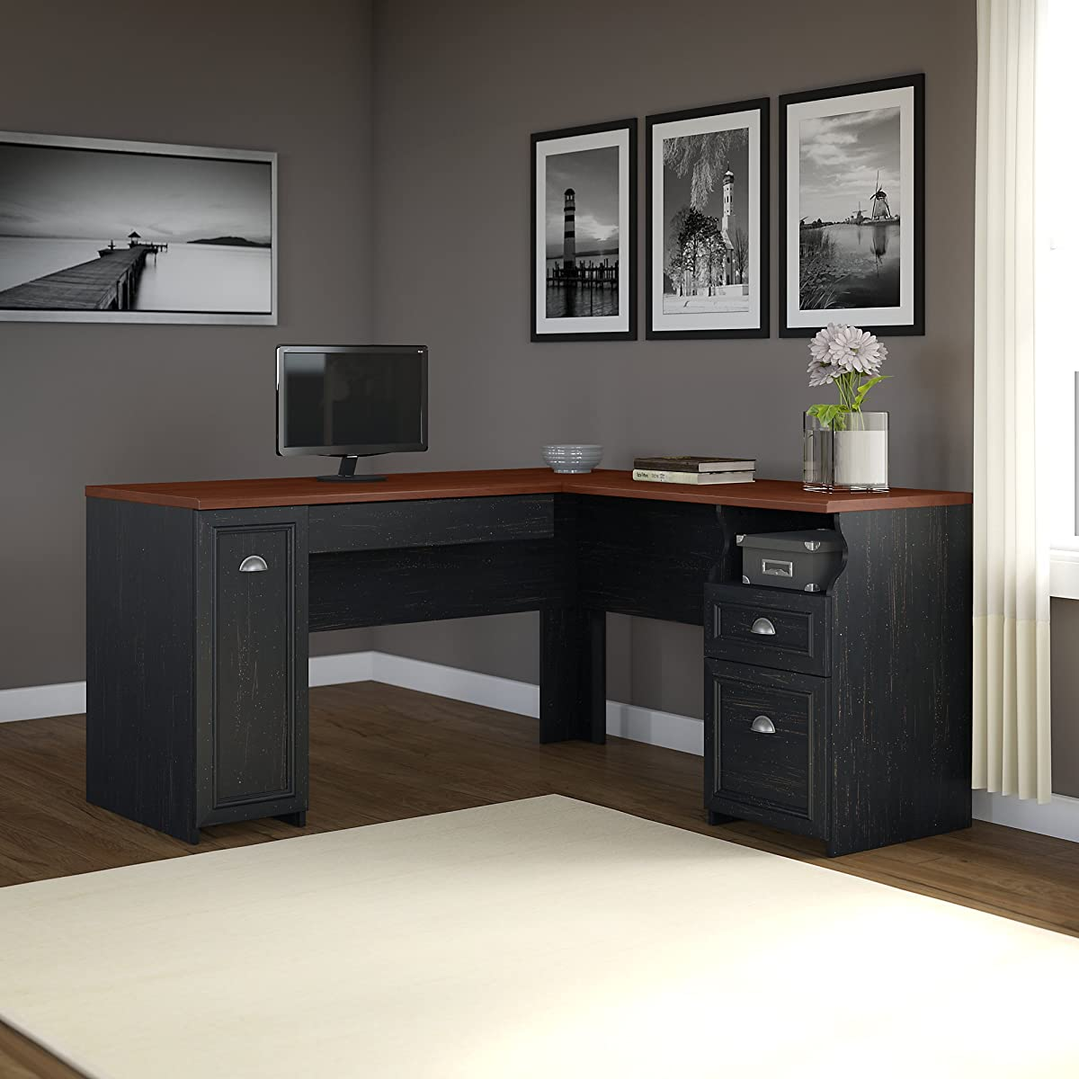 Bush Furniture Fairview L Shaped Desk in Antique Black
