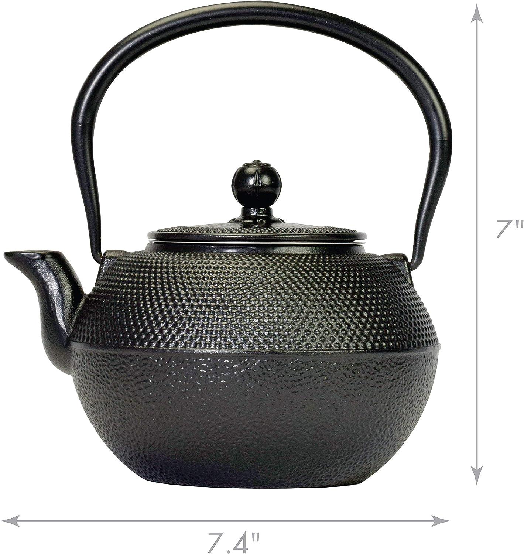 50 Ounces Black Spigo Tokyo Cast Iron Enamel Infuser Teapot