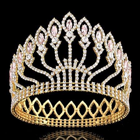 concurso de belleza fiesta de novia tiara de cristal para novia concurso de belleza fiesta de cumplea/ños corona de princesa con cristales de estr/ás Corona de boda para mujer E-More
