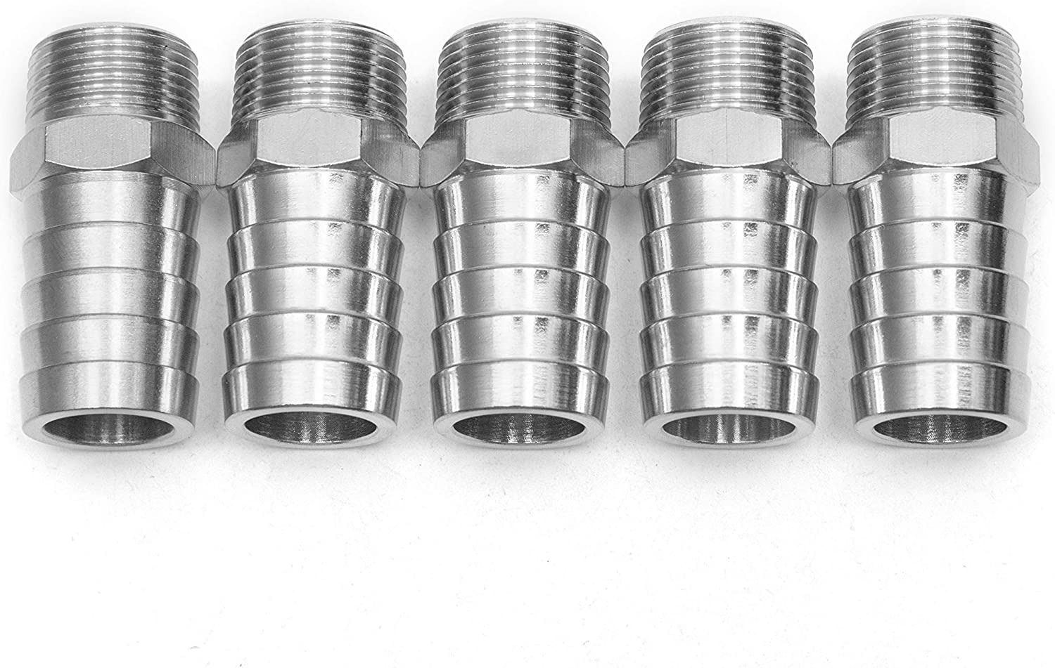 Pack of 5 LTWFITTING Bar Production Stainless Steel 316 Barb Fitting Coupler//Connector 1 Hose ID x 3//4 Male NPT Air Fuel Water
