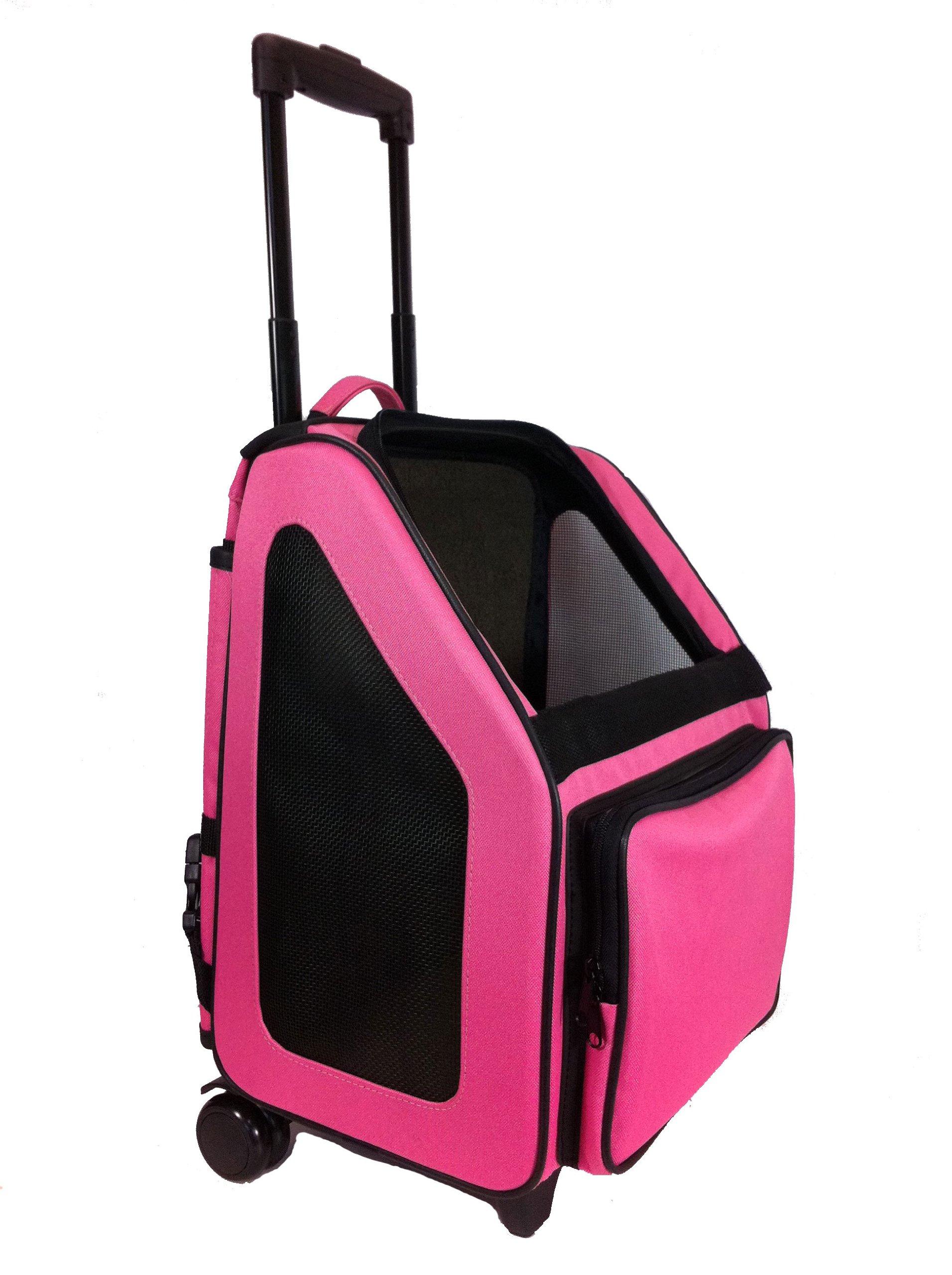 Petote Rio Pet Carrier Bag on Wheels, Black Trim/Fuchsia Pink by Petote