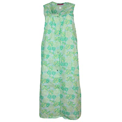 5 More Minutes Women's Plus Size House Dress with Pcokets, Cotton Blend Snap Front, Sleeveless at Amazon Women's Clothing store