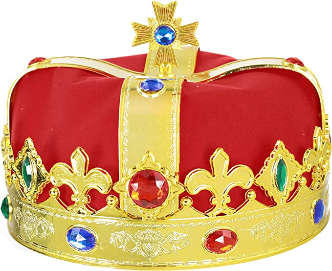 King/'s Crown Adult Mens Costume Hat Red Fancy Dress Jeweled Royal Kings Party