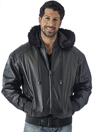 REED Men s Hooded Leather Bomber Jacket with Zip Out at Amazon Men s ... 7c74f0c8c