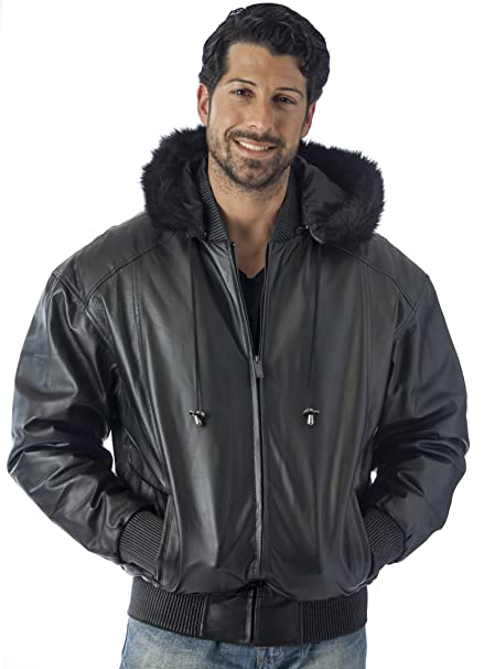 Reed Mens Hooded Leather Bomber Jacket With Zip Out