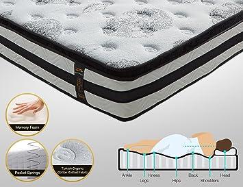 Lujo Elysium comodidad 25 cm 4 ft6 doble 5 pies king 3d Tejido transpirable espuma de memoria 7-zone colchón con bolsillo muelles - colchón ortopédico, ...