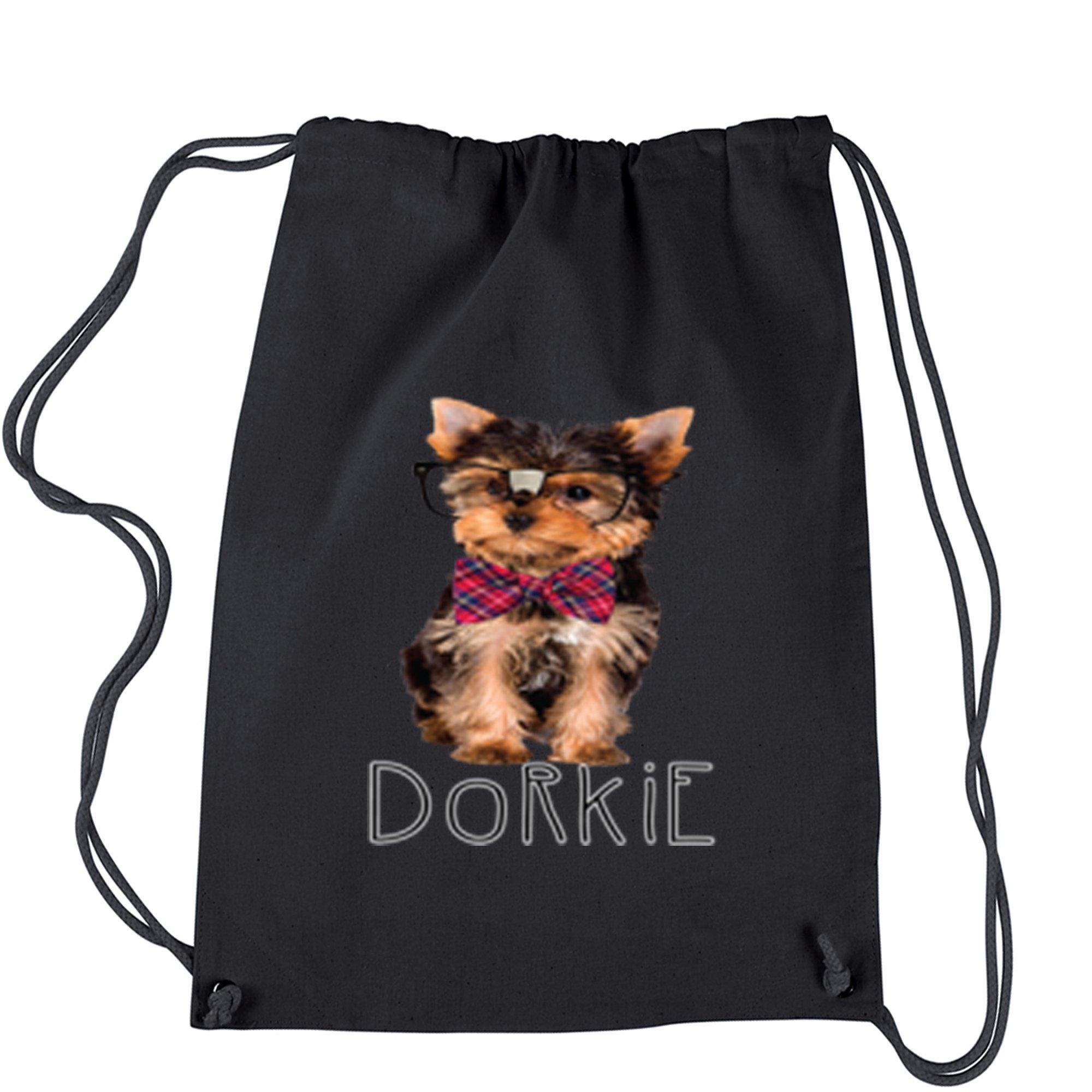Backpack Dorkie Yorkie With Glasses Black Drawstring Backpack