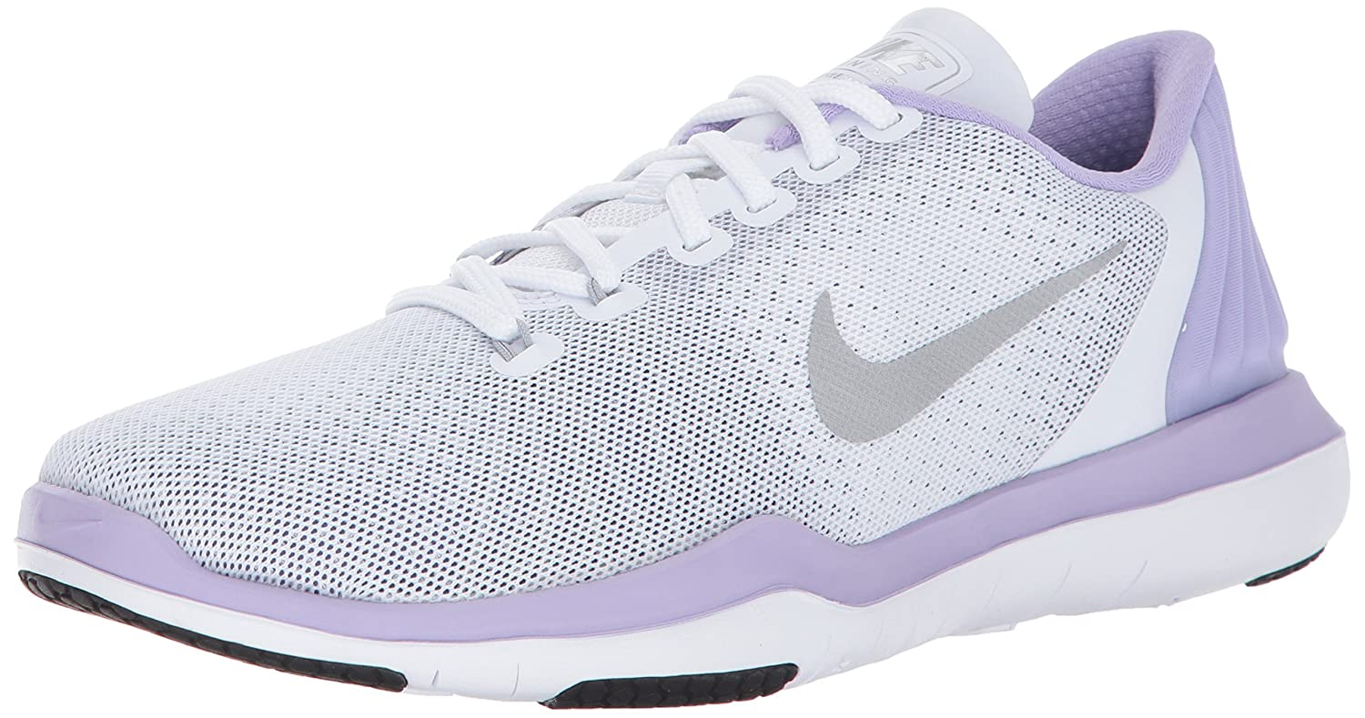 NIKE Women's Flex Supreme TR 5 Cross Training Shoe B01LPOS07Y 5 B(M) US|White/Metallic Silver/Hydrangeas